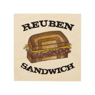 De Sandwich van Reuben bij Koken van het Voedsel Hout Afdruk