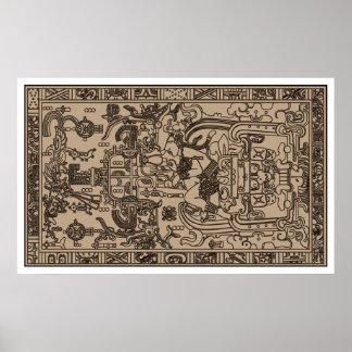 De Sarcofaag van Pacal - Oude Mayan Gravure Poster