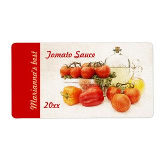 De saus inblikkend etiket van de tomaat of van