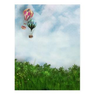 De scène van de hete luchtballon briefkaart