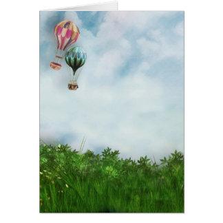 De scène van de hete luchtballon wenskaart