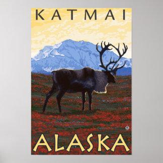 De Scène van de kariboe - Katmai, Alaska Poster