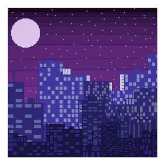 De Scène van de Nacht van de Stad van het pixel Poster