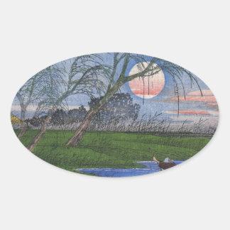De Scène van de Rivier van de nacht Ovale Sticker