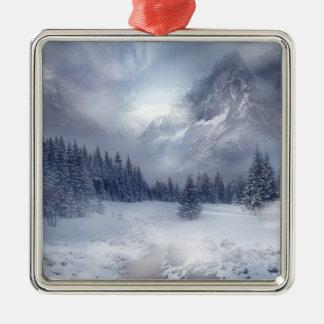 De Scène van de sneeuw Zilverkleurig Vierkant Ornament