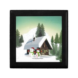 De Scène van de Sneeuwman van Kerstmis Decoratiedoosje