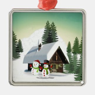 De Scène van de Sneeuwman van Kerstmis Zilverkleurig Vierkant Ornament