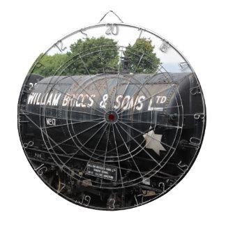De scène van de spoorweg - tankers - wijnoogst dartbord