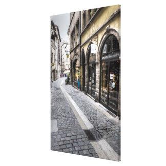 De Scène van de straat in Oude Stad, Frankrijk Canvas Afdrukken