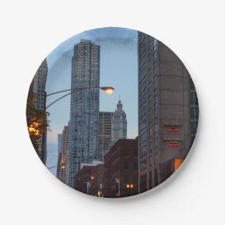 De Scène van de Straat van Chicago Papieren Bordjes