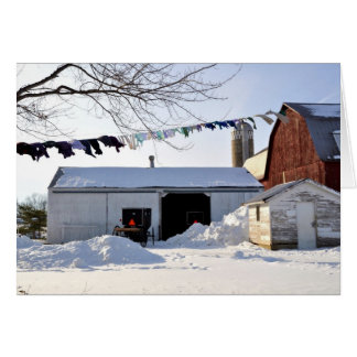 De Scène van de Wasserij van de Winter van Amish Briefkaarten 0