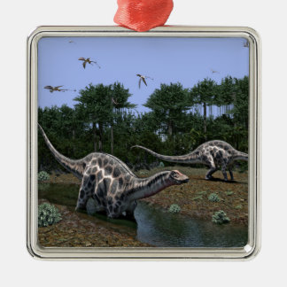 De Scène van Dicraeosaurus Zilverkleurig Vierkant Ornament