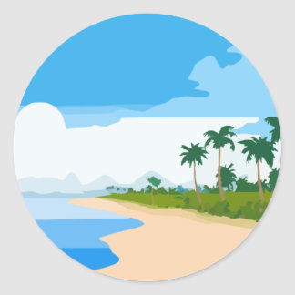 De scène van het strand ronde sticker