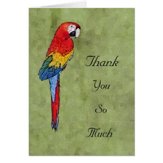 De scharlaken Ara dankt u Notecard Kaart