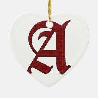 De scharlaken Brief Keramisch Hart Ornament