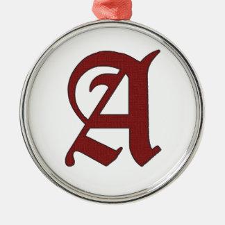 De scharlaken Brief Zilverkleurig Rond Ornament