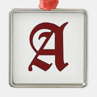 De scharlaken Brief Zilverkleurig Vierkant Ornament