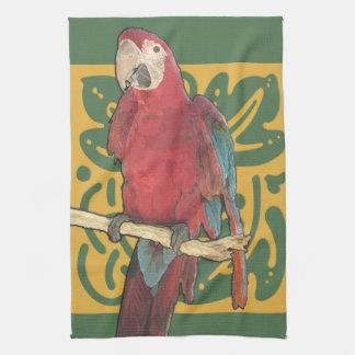 De Scharlaken Jugendstil van de papegaai Theedoek
