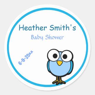 De schattige Blauwe Mama van de Uil om Baby shower Ronde Stickers
