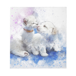 De schattige Kus van het Katje & van het Puppy van Notitieblok