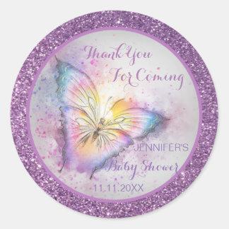 De schattige Paarse Vlinder dankt u Baby shower Ronde Sticker