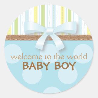 De schattige Strepen van de Jongen van het Baby + Ronde Sticker