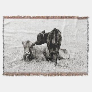 De schattige Zwarte & Witte Koe werpt Deken