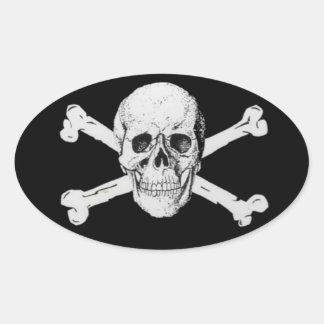 De Schedel en de Gekruiste knekels van de piraat Ovaalvormige Sticker