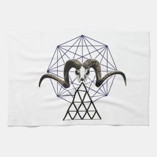 De schedel heilige meetkunde van de ram theedoek