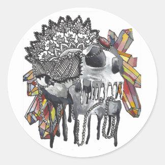De Schedel Mandala van het kristal Ronde Sticker
