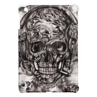 De schedel met hoofdtelefoons overhandigt getrokke iPad mini case