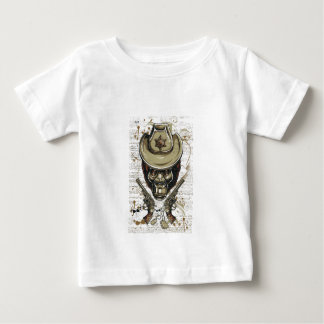 de schedel van de aapcowboy met tweelingpistolen baby t shirts