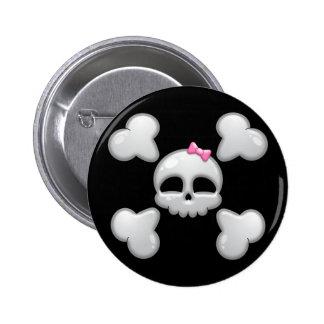 De Schedel van de Cartoon van meisjes met Roze Boo Ronde Button 5,7 Cm