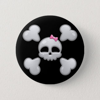 De Schedel van de Cartoon van meisjes met Roze Ronde Button 5,7 Cm