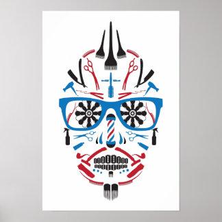 de schedel van de herenkappersuiker poster