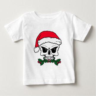 De schedel van de kerstman baby t shirts
