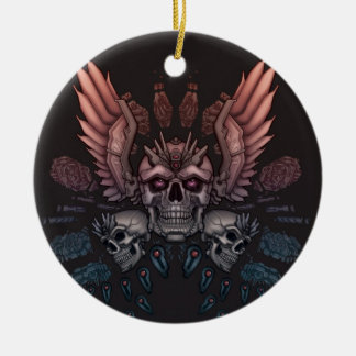 De Schedel van de robot + Vleugels Rond Keramisch Ornament