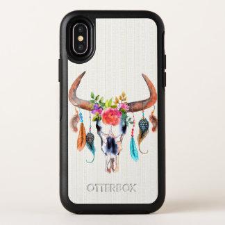 De Schedel van de stier met Beige Stammen van OtterBox Symmetry iPhone X Hoesje
