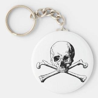 De schedel van gekruiste knekels sleutelhanger