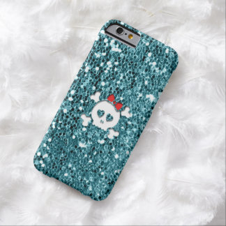 De Schedel van Girly met Rode Boog op Aqua Barely There iPhone 6 Hoesje