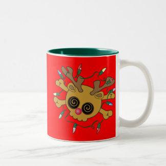 De Schedel van het rendier Tweekleurige Koffiemok