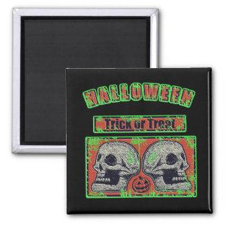 De Schedels van Halloween - Groen Versleten Trick Magneet