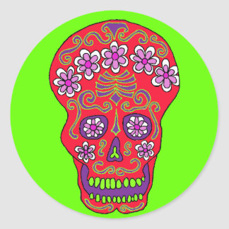 De schedelsticker van de bloem in rood ronde sticker