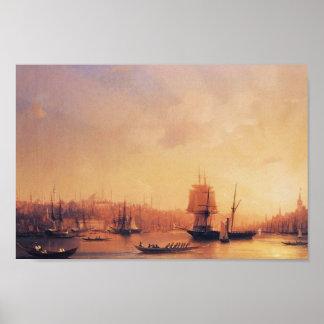 De Schemer van Aivazovsky- van Ivan op de Gouden H Poster