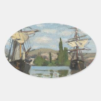 De Schepen die van Claude Monet op de Zegen in Ovale Sticker