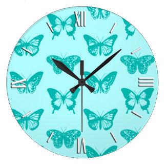 De schets, aqua en het turkoois van de vlinder grote klok