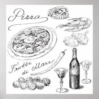 De Schets van de pizza Poster