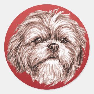 De Schets van Tzu van Shih Ronde Sticker