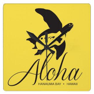 De Schildpad Aloha van Hawaï Vierkante Klok