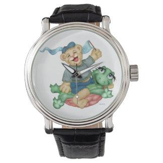 De SCHILDPAD DRAAGT CARTOON toont voor kinderen Horloges